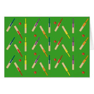 Boules de battes de cricket avec la carte verte