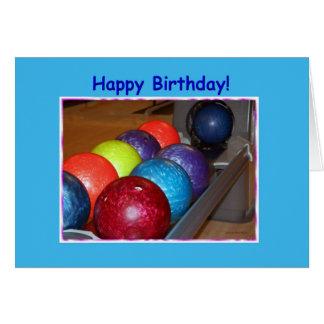 Boules de bowling d'anniversaire cartes