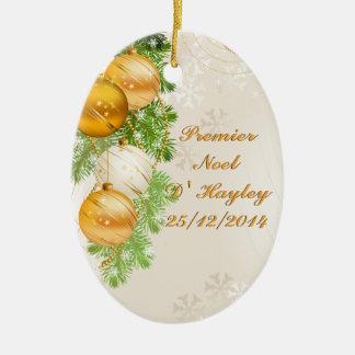Boules d'or et de Noël blanc Ornement Ovale En Céramique