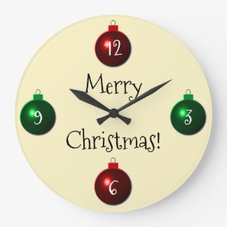 Boules rouges et vertes de Joyeux Noël Grande Horloge Ronde