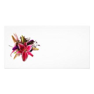Bouquet avec des lis d'astronome cartes de vœux avec photo