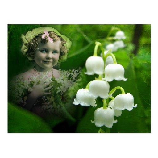 Bouquet blanc doux de fleur de Bell du muguet Cartes Postales