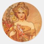 Bouquet d'Alphonse (Alfons) Mucha Adhésif Rond