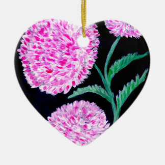 Bouquet d'art de fleurs ornement cœur en céramique