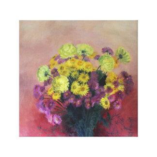 Bouquet de chrysanthème - peinture à l'huile toile