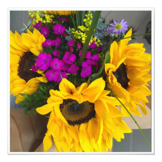Bouquet de fleur carton d'invitation  13,33 cm