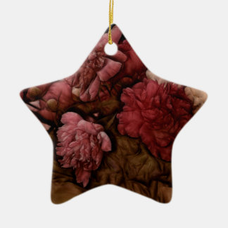 Bouquet de fleur de pivoine de Bordeaux Ornement Étoile En Céramique