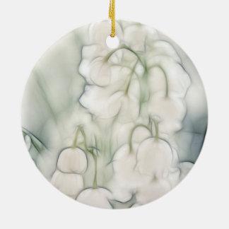 Bouquet de fleur du muguet ornement rond en céramique