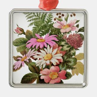 bouquet de fleur ornement carré argenté