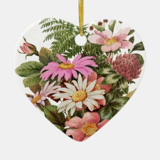 bouquet de fleur ornement cœur en céramique