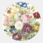 Bouquet de Redoute d'autocollant rond de fleurs