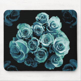 Bouquet de rose de BLEU de TURQUOISE Tapis De Souris