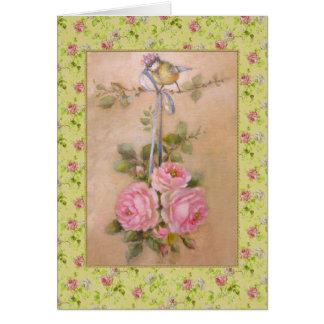 Bouquet de roses anciennes - mésange couronnée carte de vœux