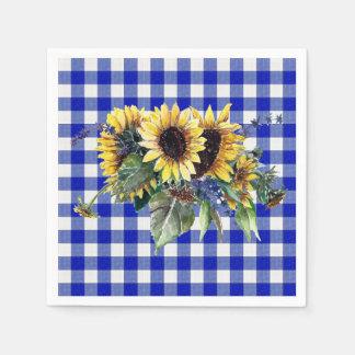 Bouquet de tournesol sur le guingan bleu serviettes en papier