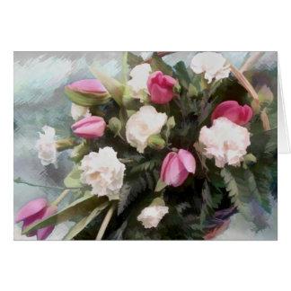 Bouquet de tulipe et d'oeillet carte de vœux