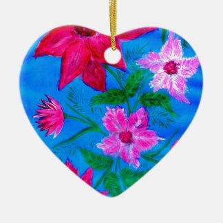 Bouquet des fleurs 2 ornement cœur en céramique