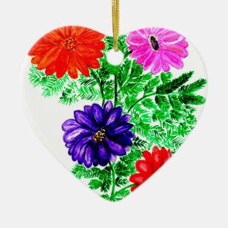 Bouquet des fleurs Art2 Ornement Cœur En Céramique