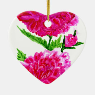 Bouquet des fleurs Art5 Ornement Cœur En Céramique