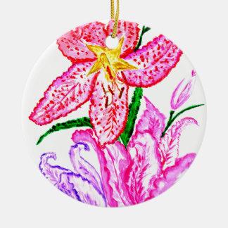 Bouquet des fleurs de lis ornement rond en céramique