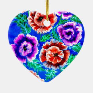 Bouquet des fleurs ornement cœur en céramique