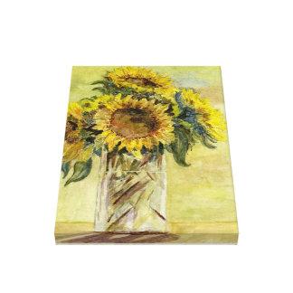 Bouquet des tournesols dans un vase sur la toile
