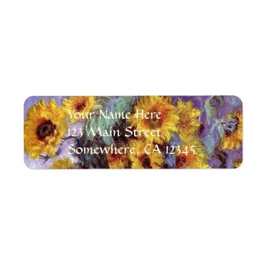 Bouquet des tournesols par Claude Monet, art Étiquette D'adresse Retour