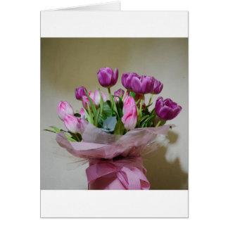 Bouquet des tulipes carte de vœux