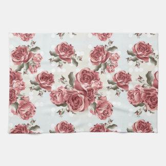 Bouquet dessiné romantique vintage de roses rouges serviette pour les mains