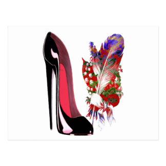 Bouquet du muguet et chaussure stylet noire carte postale