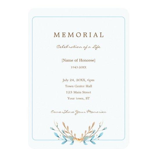 Bouquet élégant d'invitation de mémorial de carton d'invitation  12,7 cm x 17,78 cm