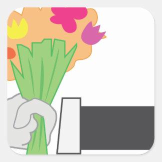 Bouquet floral sticker carré