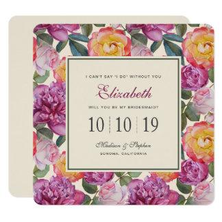 Bouquet floral coloré d'aquarelle - demoiselle carton d'invitation  13,33 cm