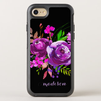 Bouquet floral d'aquarelle pourpre coque otterbox symmetry pour iPhone 7