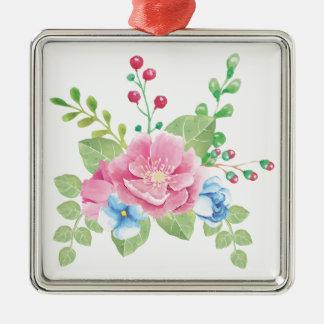 Bouquet floral de jolie aquarelle ornement carré argenté