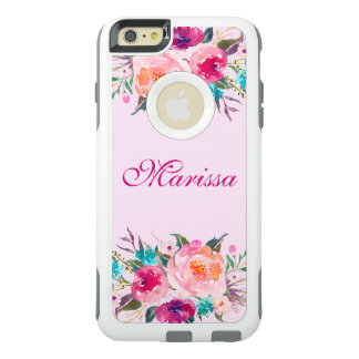 Bouquet floral de roses d'aquarelle rose élégante coque OtterBox iPhone 6 et 6s plus
