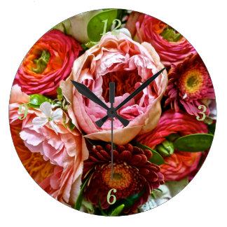 Bouquet floral, horloge murale