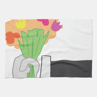 Bouquet floral linges de cuisine