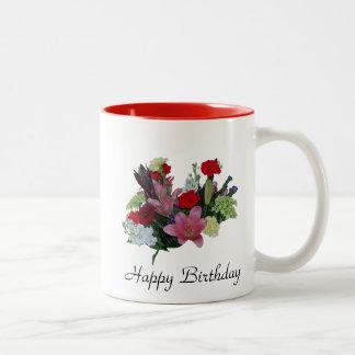Bouquet floral mug bicolore