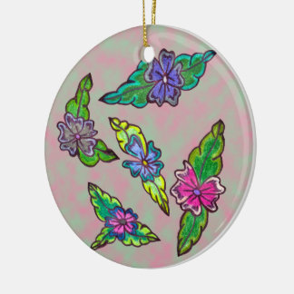 Bouquet floral ornement rond en céramique