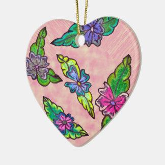 Bouquet floral ornement cœur en céramique