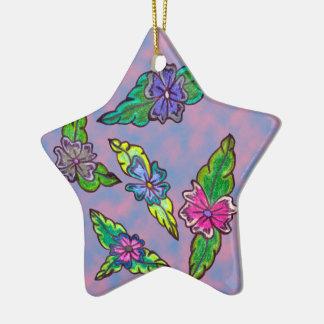 Bouquet floral ornement étoile en céramique