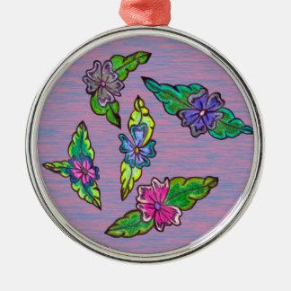 Bouquet floral ornement rond argenté