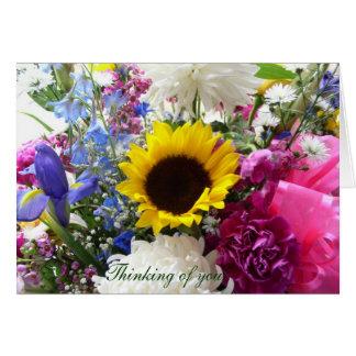 Bouquet floral pensant à vous ! carte