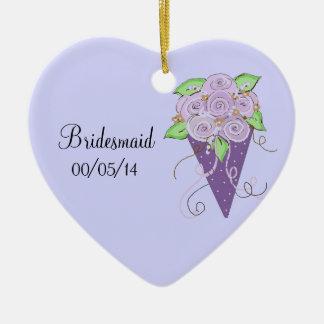 Bouquet floral pourpre de demoiselle d'honneur décoration pour sapin de noël