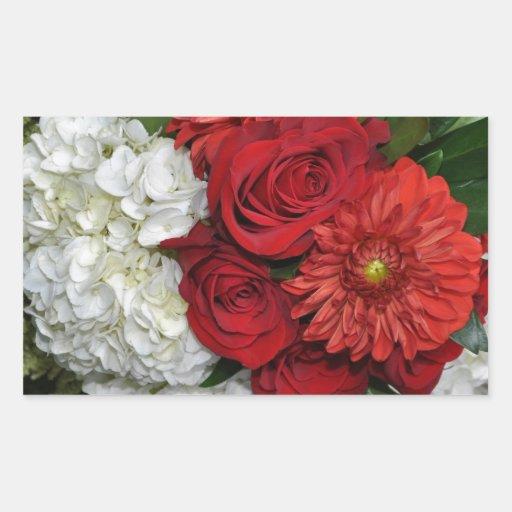 Bouquet floral rouge et blanc autocollants rectangulaires