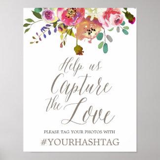 Bouquet floral simple d'aquarelle épousant Hashtag Poster
