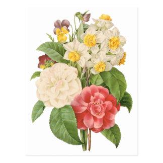 Bouquet informel floral de fleurs vintages par cartes postales