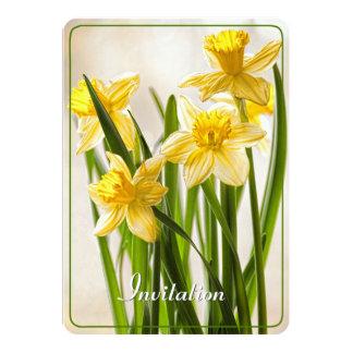 Bouquet jaune de jonquilles de ressort carton d'invitation  12,7 cm x 17,78 cm