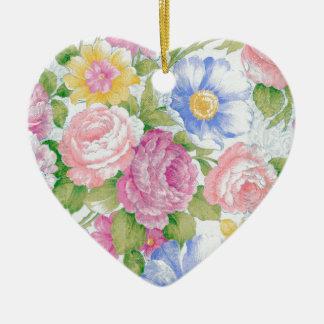 Bouquet Ornement Cœur En Céramique