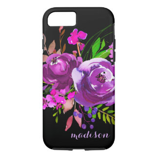 Bouquet pourpre de pivoine d'aquarelle coque iPhone 7